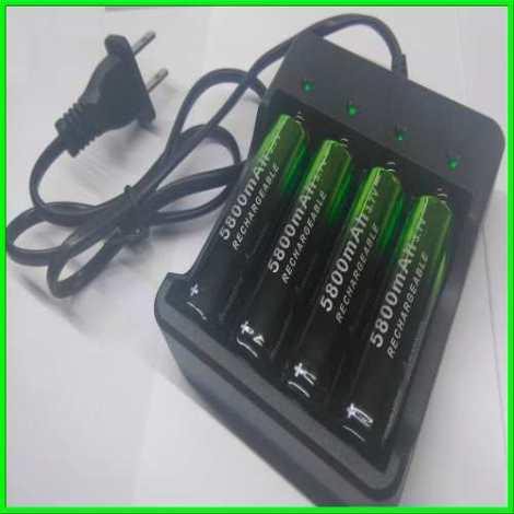 Cargador 4 Slots 18650. Litio Baterias Incluidas en Web Electro