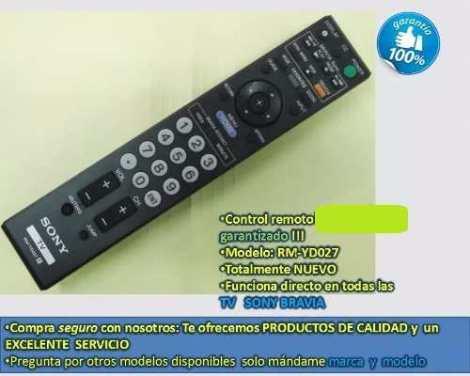 Rm-yd027 Remplaza A Rm-yd026 Control Remoto Tv Sony Bravia en Web Electro