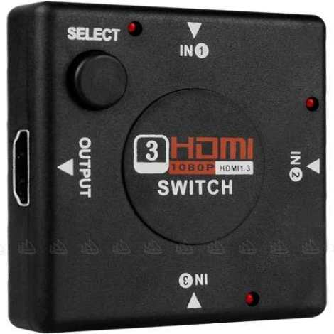 Switch Hdmi De 3 Puertos Full Hd 1080p – Selector Conmutador