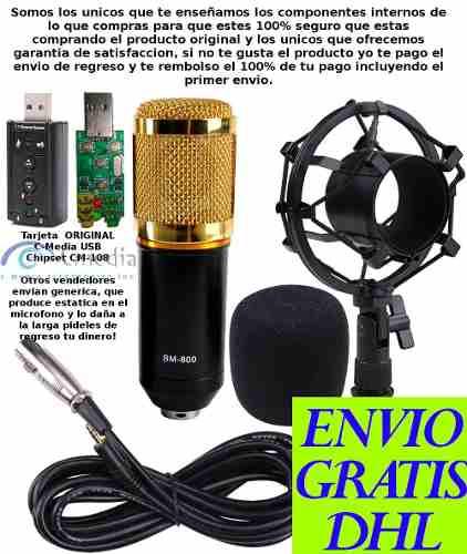 Kit Microfono Condensador Bm800 + Tarjeta Usb Para Pc Laptop en Web Electro