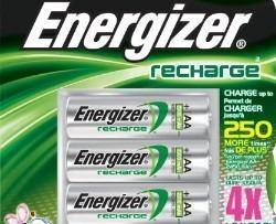 Energizer Paquete De 4 Baterias Aa Recargables Nh15bp-4