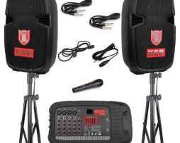 Kit Bafles 2 Bocinas 10p Bluetooth Mezcladora Micro Tripies