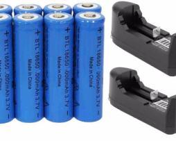 8 Baterias Brc18650 Oem Recargables 3.7 Volts + 2 Cargadores
