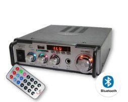 Amplificador Auto Casa 2 Canales Usb Bluetooth Aux Radio Fm