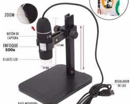 Potente Microscopio Digital Hd Usb 500x Zoom Con Base