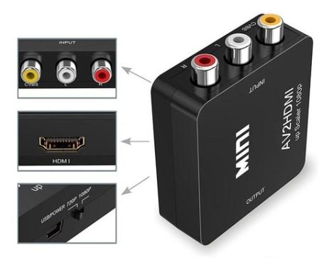 Adaptador Rca Vga A Hdmi 1080p Convertidor De Audio Y Video