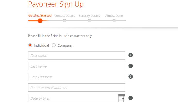 Payoneer Sign up
