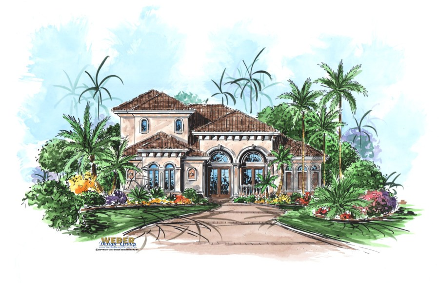 Mediterranean House Plans  Luxury Mediterranean Style Home Floor Plans Avellino Isle Home Plan