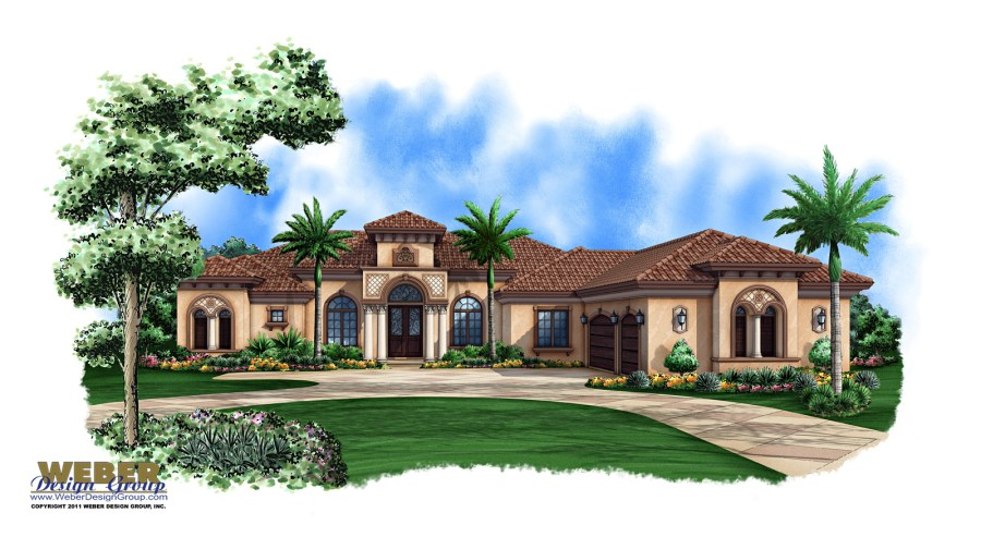 Mediterranean House Plan  1 Story Mediterranean Luxury Home Plan