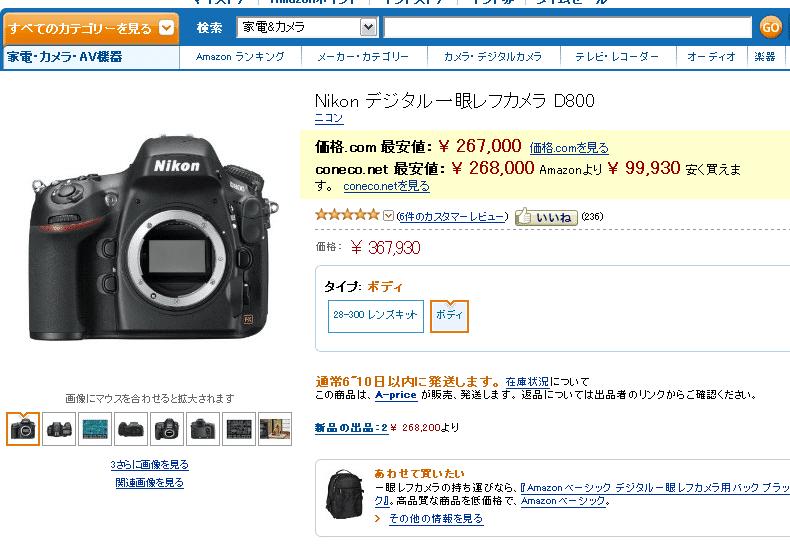 Nikon デジタル一眼レフカメラ D800