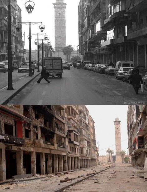 シリア内戦で変わり果ててしまった都市アレッポの比較写真