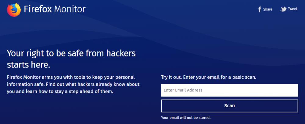 メールアドレスの流出を知らせるサービス「Firefox Monitor」