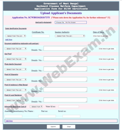 West Bengal Caste Certificate Documents upload Online