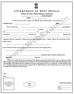 application for renewal of obc certificate in west bengal