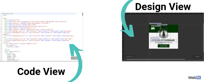 A comparison between the design and code view in Google's ad builder