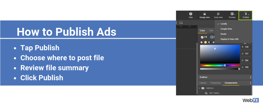 A screenshot of how to publish ads in Google's ad builder