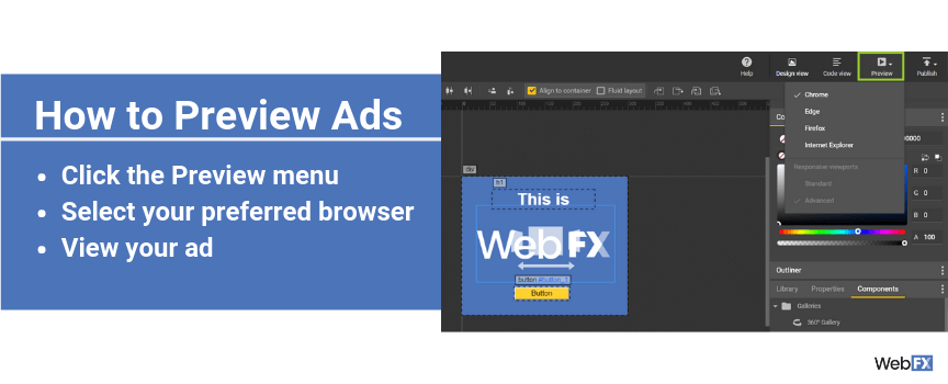 A screenshot of how to preview ads in Google's ad creator