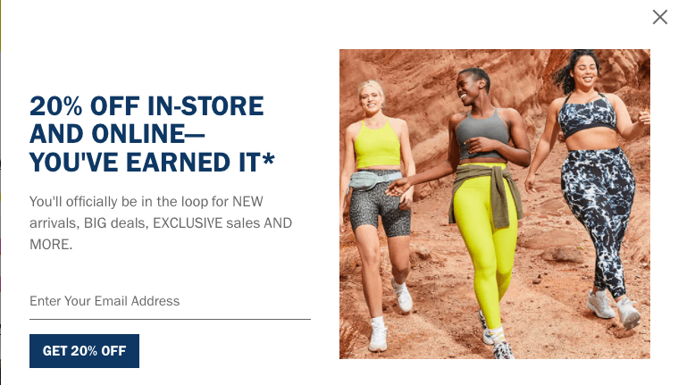 Pop-up box on Old Navy's site that invites people to join their email list