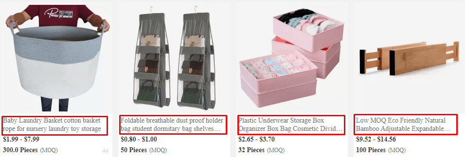 Product title for fabric bins on Alibaba