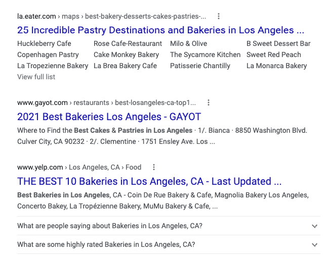Search results for local bakeries showing different competitors