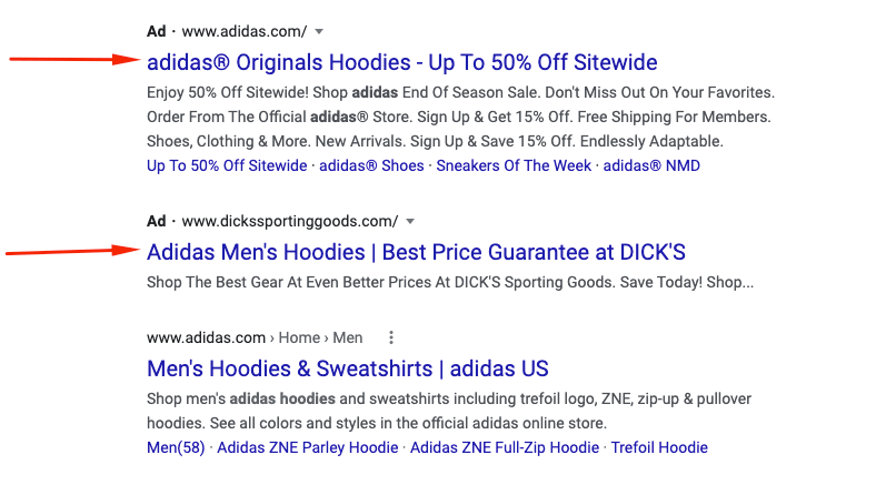 SEM ad in the top of search results