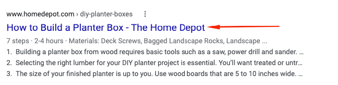 Home Depot planter box SEO listing