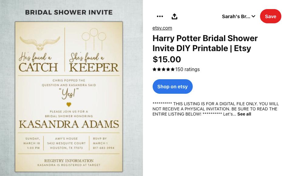 Pinterest pin for a Harry Potter bridal shower invitation
