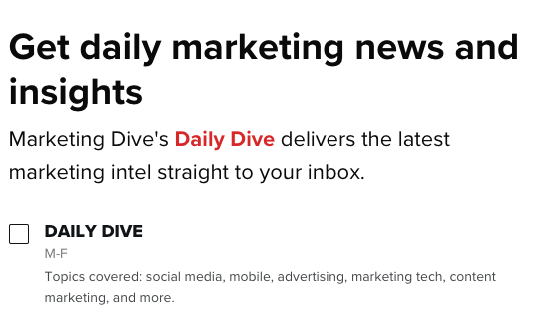 Sign-up page for Daily Dive email newsletter