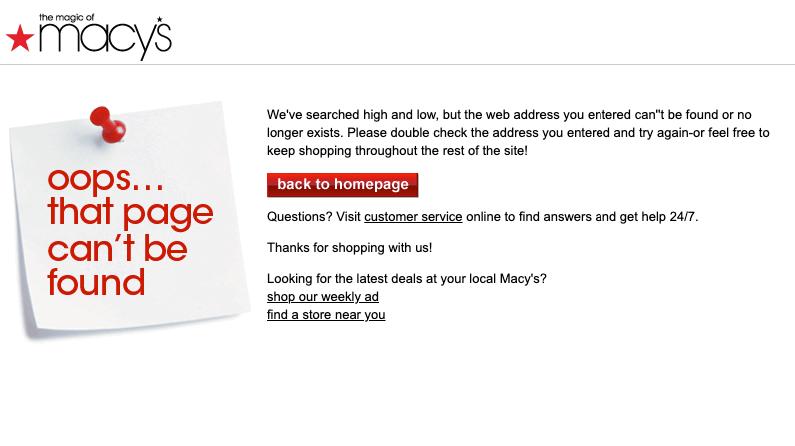 Error page on Macy's website