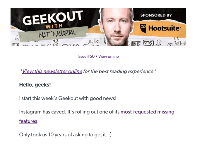 Geekout newsletter sign-up page