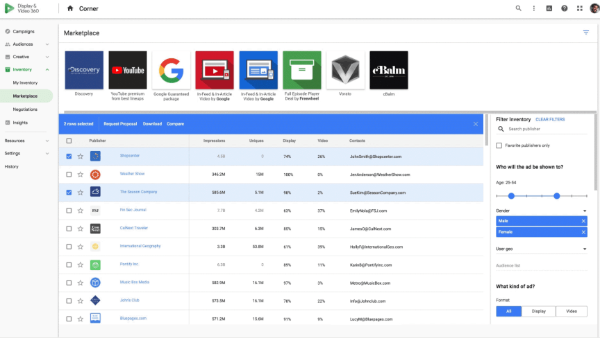 Google Display Video 360 screenshot