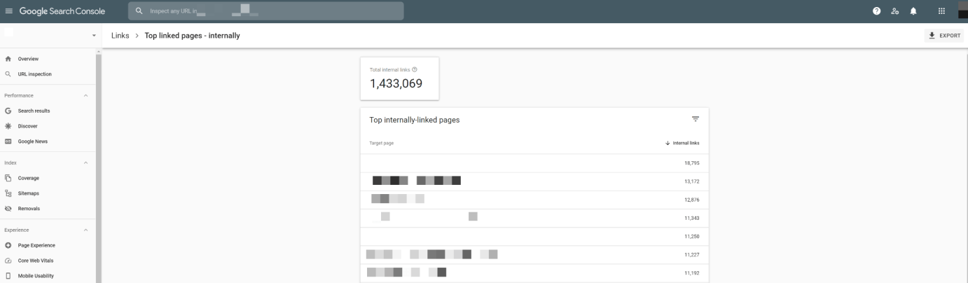 Google Search Console's internal links report