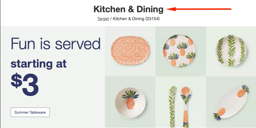 Heading for a kitchen and dining page on Target's website