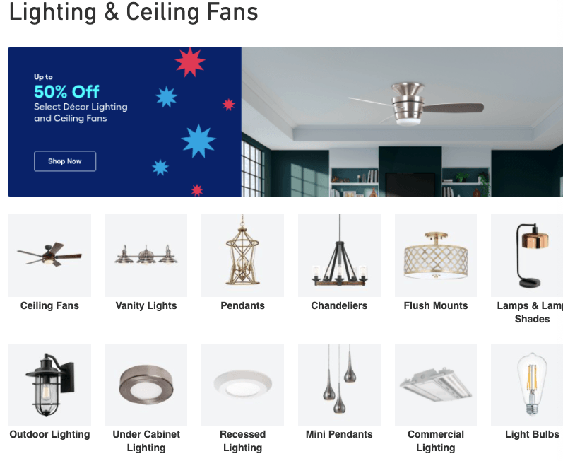 Category page on Lowe's website for lighting products