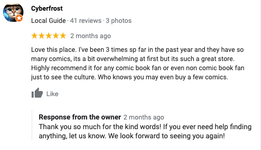 Owner responding to a positive review on Google