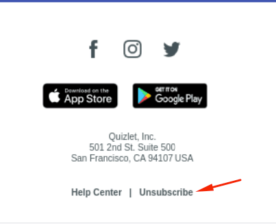 Unsubscribe button at the end of an email