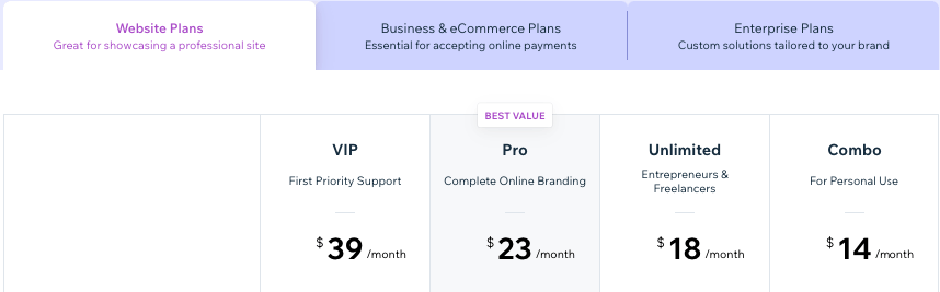 Pricing for Wix's web design
