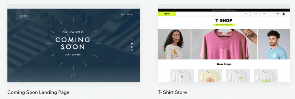 Templates from Wix