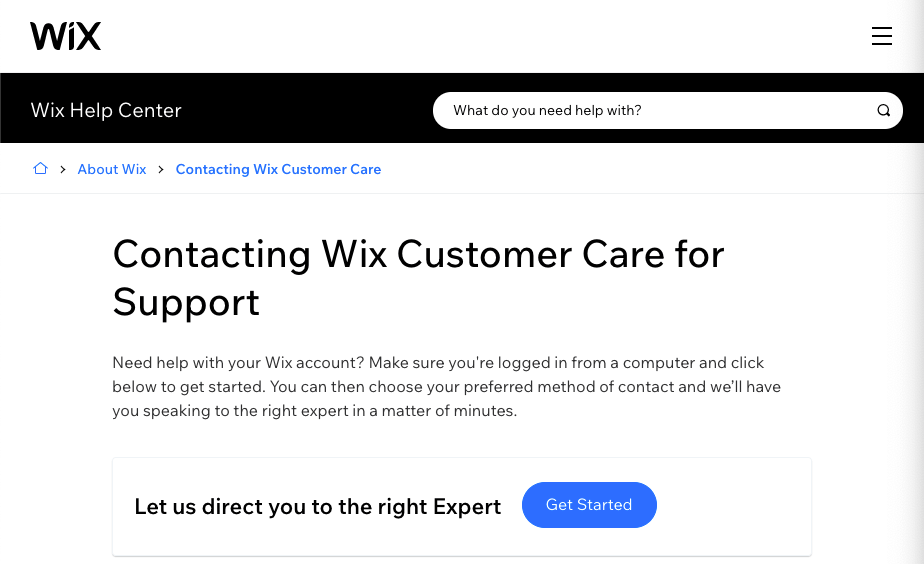 Customer support page for Wix