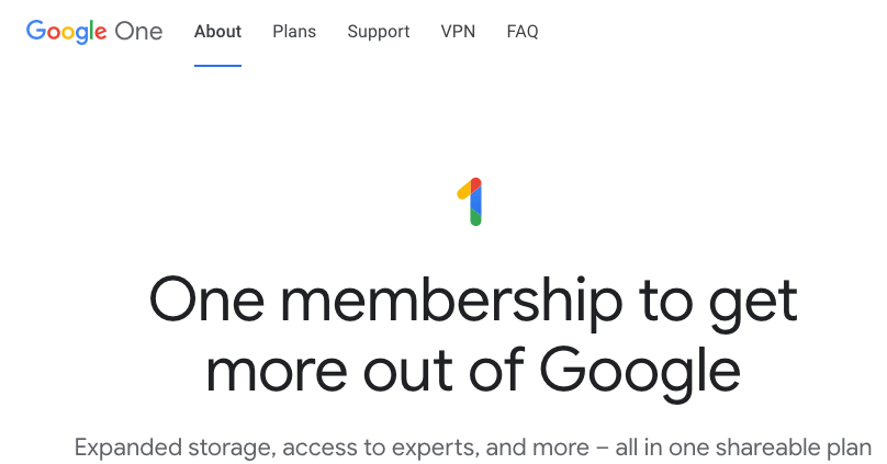 Homepage for Google's cloud storage services