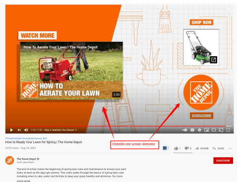 An orange and white YouTube End Screen for a Home Depot video about lawn mowers
