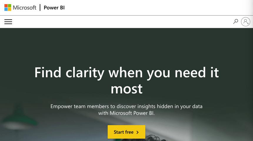 Homepage for Microsoft Power BI