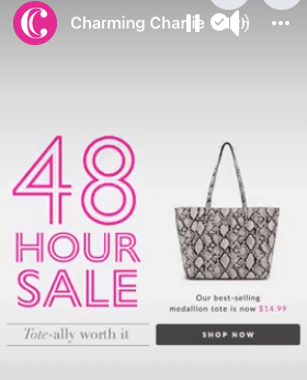 Flash sale advertisement from Charming Charlie