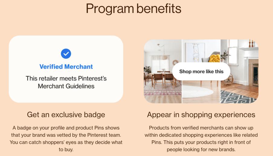 Listed benefits of joining Pinterest's shopping program