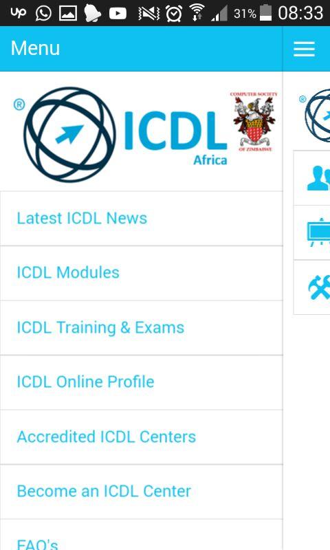 ICDL Mobile App Menu