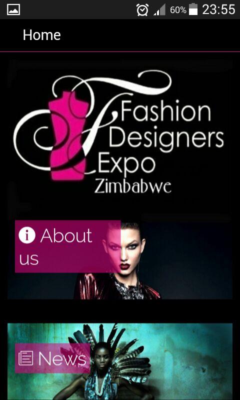 Fashion Designers Expo Mobile App Menu
