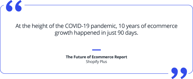 Quote 10 days of ecommerce growth happened in just 90 days during COVID-19 pandemic.