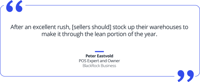 Quote about ecommerce sellers needing to stock up on inventory after the holiday rush.