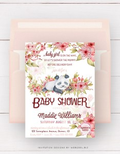 Baby Panda Cherry Blossom Baby Shower Invitation by Webgrrl