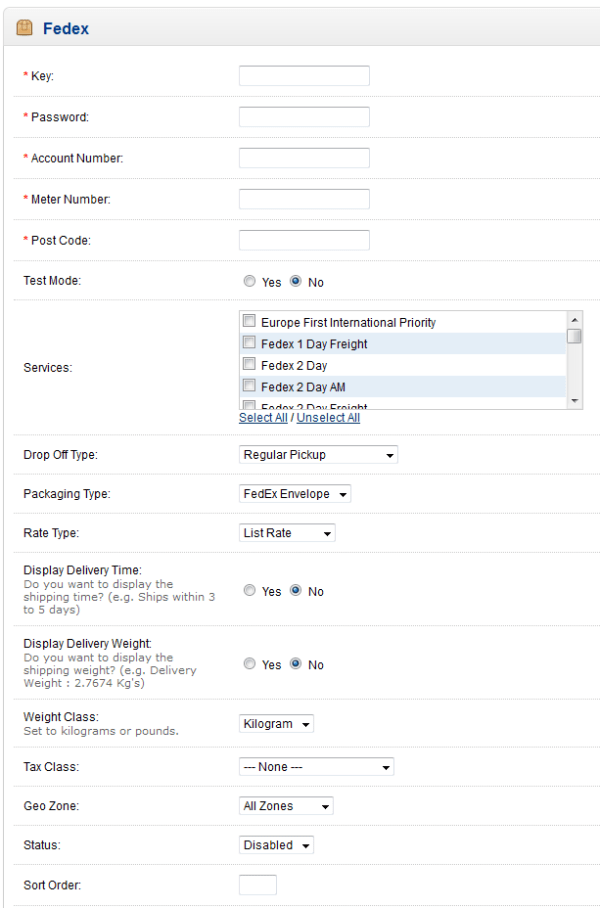Setting up the Fedex Shipping Extension in OpenCart 1.5 ...